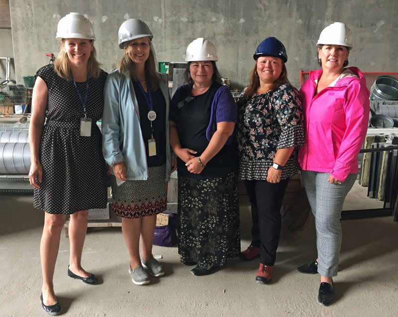 partners in women in trades from left to right Kim Kennedy and Marjorie Davison of NSAA, Daphne Goodine of Office to Advance Women Apprentices NS, Lovessa Johnson of NSAA Program Manager of WIT Division and Kelli Go